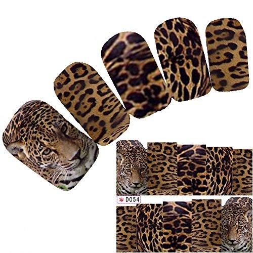 l Art Aufkleber Tiger Glitzer Leopard Lion Nagel Sticker (Lion Tattoo)