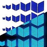 Tuqiang Diamant-Form Reflektierendes Klebeband Wasserdicht Selbstklebend Für Fahrräder Baby's Auto Mini-Scooter's Hohe Sichtbarkeit Band Sicherheit im Freien Reflektierend Aufkleber 25 Stück Blau