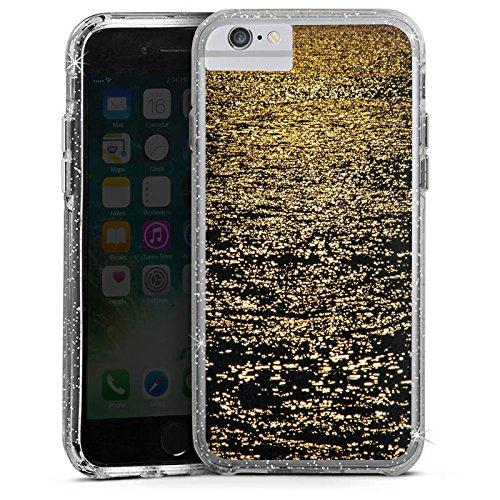 Apple iPhone 7 Plus Bumper Hülle Bumper Case Glitzer Hülle Meer Mer Ocean Bumper Case Glitzer silber