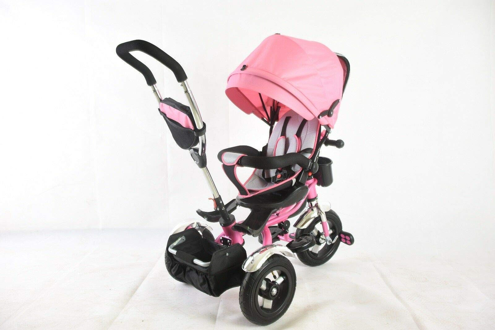 Trike Tricycle Stroller Buggy Wheel Ride Push Rain Cover Rubber Tyres 4 in 1 System (Pink) Generic Removable Leg rest for kids to feet up. Adjustable and removable parent handle or control bar. Plastic seat with removable padded cushion and lap seat belt to keep your child safe. 6