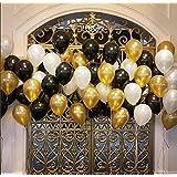 AMFIN Metallic Balloons (Black/Golden/White_10 Inch_Pack of 50)