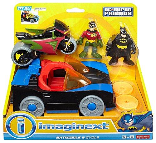 Fisher Price - Imaginext - DC Super Friends - Batmobile & Cycle - mit Batman & Robin Mini-Figuren (Batman Und Robin Batmobil Spielzeug)