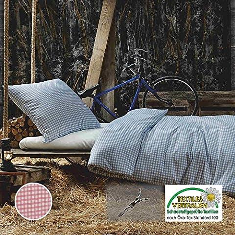 Bettwäsche Karo 2 teilig Baumwolle Renforcé Landhaus 135x200cm Reißverschluss