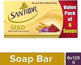 Santoor Gold Soap, 125g (Pack of 6)