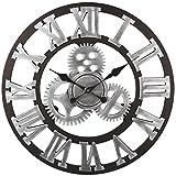 Acquista Soledì 3D Orologio Ingranaggio da Parete In Legno Europeo Retro Fatto a Mano (Argento)