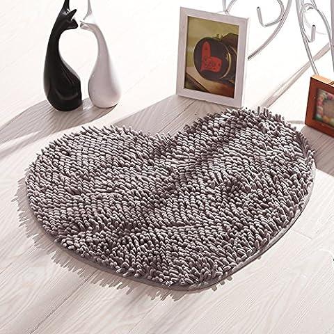 Chenilla Tapetes de puerta Mats Mats Salón Dormitorio Baño esteras de la estera alfombras de baño ( Color : Gris plata )