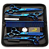 4pcs / set del salone professionale del barbiere parrucchiere forbici cesoie Tool Kit Fine elettrolitico con pettine per Taglio di capelli Hair Styling Pet Grooming 7.0' - Blu