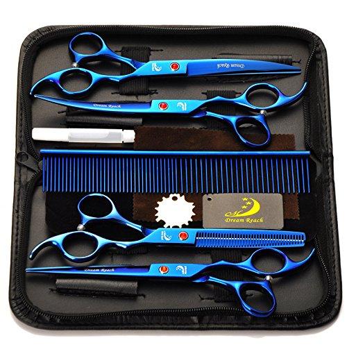 4Pcs / Set Salon professionnel Barber Ciseaux Ensemble de ciseaux de coiffeur Coffret à outils Finition électrolytique avec peigne pour coiffure Coiffure Toilettage pour animaux 7.0 \