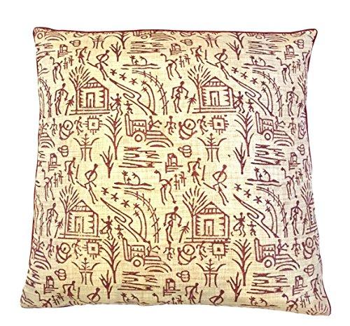 the-indian-promenade-16-x-16-cm-en-coton-motif-pastel-melange-warli-housse-de-coussin-bordeaux-beige