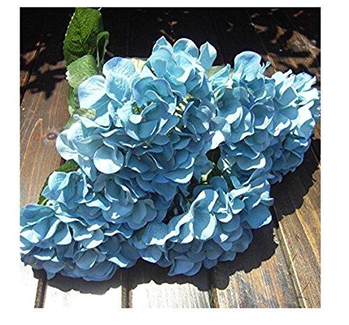 Yolandabecool 7 teste di seta artificiale fiori finti foglia rosa da sposa decorazioni floreali bouquet (azzurro)