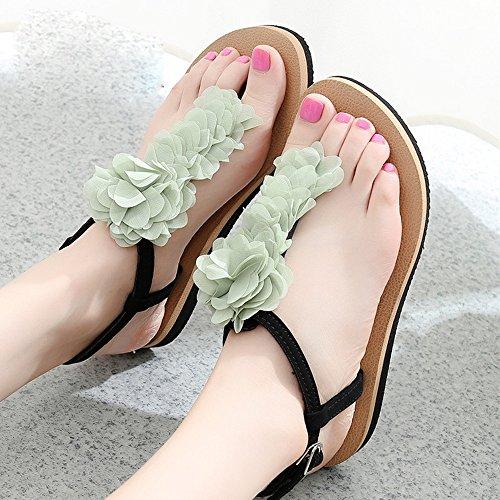 Cailin Sandals, Pente avec sandales Sandales plates glissantes féminines Chaussures étudiantes Chaussures décontractées pendant 18 à 40 ans ( Couleur : 1002 , taille : 38 ) 1004