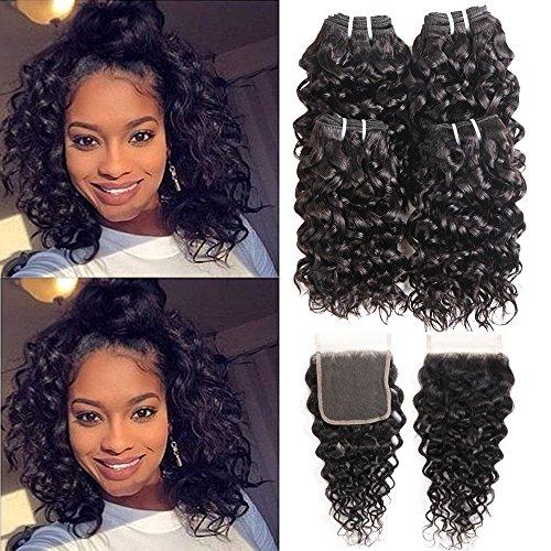 Ms taj 10a - extension di capelli umani brasiliani ondulati, 4 ciocche con chiusura in pizzo, 100% capelli vergini, non trattati, umidi e ondulati, per donne nere, colore naturale (8 8 8 8+8)