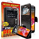 Etui à rabat Housse SAMSUNG GALAXY S7 coque de protection Portefeuille avec fenetre NOIR pour Smartphone galaxi S 7 SM-G930F G930F dual sim or g930 duos wifi SM G930FD lte 3g 4g