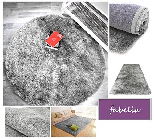 Hochflor Teppich Shaggy Gentle Satin Luxury - Weich und Handgetuftet/In vielen bunten Farben (120 cm x 120 cm rund, Hellgrau-Silber)