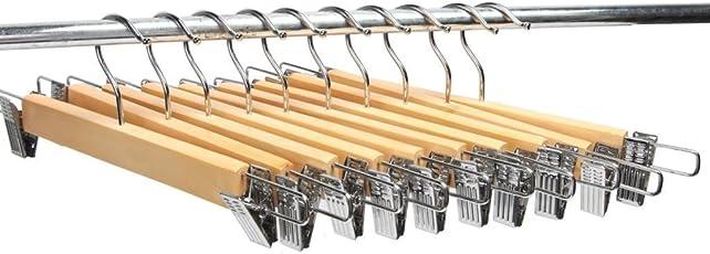KriShyam Wooden Cloth Hanger with Steel Clips Beige - Set of 24