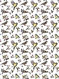 Fototapete Tapete Wandbild Welt-der-Träume | Kleine Vögel und Blumenmuster | P4A (254cm. x 184cm.) | Photo Wallpaper Mural 10401P4A-MS | Natur Muster Blume Blumen Vogel Vögel Frühling