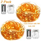 Fairy String Copper Wire Lights(2 Pack), 33Ft/10M 100 LED Battery Powered Dimmable 8 Lighting Mode Indoor&Outdoor LED Fairy String Lights With Remote Control for Decor Bedroom Halloween Christmas, Weddings, Parties(Warm White)