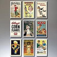 9 Vintage Retro Advert Poster Kühlschrankmagnete - schäbig, Chic, Art Deco - No.2