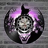 SOKIMI Batman Joker Disque Vinyle Horloge Murale 3D 12'(30cm) CD Design Moderne Art LED Montre Horloge Horloge Home Living Decor,F2,Withlights