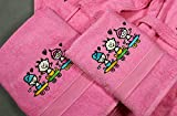 Set di asciugamani ricamati per bambini, 2 pezzi, 450 g, modello: Skate S-100 D/SK Rosa