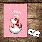 ilka parey wandtattoo-welt® A6 Postkarte Grußkarte Karte Print Illustration geschlüpftes Baby Einhorn mit Spruch Happy Birthday pk85