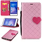 Huawei Honor 6X Wallet Case,Huawei Honor 6X Leather Case,Cozy Hut Love heart pattern Book Wallet PU Leather Flip Case Magnetic Closure [Drop Protection/Shock Absorption] Silicone Back Holder Cover with Card Slots & Stand & Wrist Strap For Huawei Honor 6X - Pink love