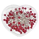maDDma  100 Perlkopfnadeln 40mm Herzdose Stecknadeln Polsternadeln Perlennadeln Farbwahl, Farbe:rot