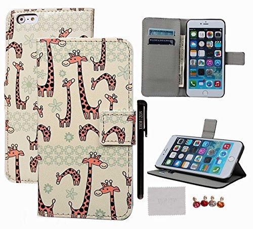 """xhorizon TM ZY Aquarelle série peinte Phone Case Motif Multiple Noir de couverture de la peau Shell etui coque housse case cover avec support et cart de crédit pour 5.5 """"iPhone 6 Plus #5-Giraffe"""