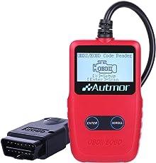 Autmor OBD2 Auto Diagnosegerät, Auto-Scanner Auslesegerät für Lesen und Löschen Fehlercode, Standard 16-pin OBD-II Schnittstelle zum Checken Motorlicht Fehlercode alle Fahrzeuge (Rot)