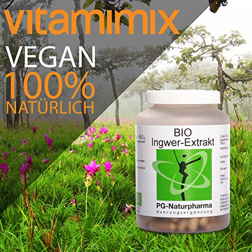 Organic (BIO) ginger extract capsules • 160 ginger capsules (vegan) with 300mg each of organic ginger extract (ginger powder), gingerols & Shogaole, 2.5 months supply