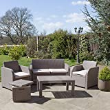 Allibert Carolina Garden Set with Ice Cube Table (Seats 4) - Cappuccino