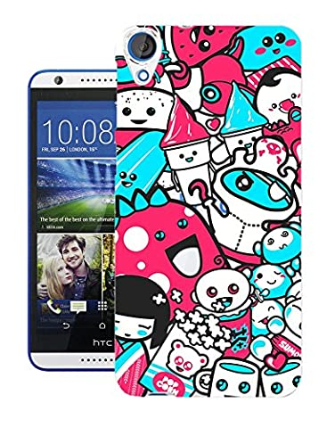 C0726 - Kawaii Pop Art Tattoo Popcorn Ice Cream Candy Cartoon Monsters Design Htc Desire 820 Fashion Trend Protecteur Coque Gel Rubber Silicone protection Case Coque