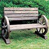 CARTWHEEL - Solid Wood Garden Bench - Burntwood