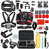 HAPY Outdoor Sports Camera Accessories Kit for GoPro Hero6???5 Black, HERO (2018),HERO Session,Hero 5,4,3,Session,GoPro Fusion,DBPOWER,Campark,AKASO,APEMAN,SJCAM,xiaomi YI,Carrying Case