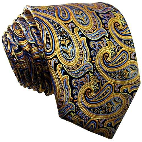 Shlax amarillo, diseño de cachemir azul seda