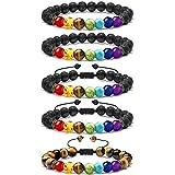 LABOTA 5 Pezzi Braccialetto Lava Beads, 7 Chakra Pietra Guarigione Yoga Meditazione Bracciale Elastico con Oli Essenziali per