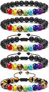 LABOTA 5 Pezzi Braccialetto Lava Beads, 7 Chakra Pietra Guarigione Yoga Meditazione Bracciale Elastico con Oli Essenziali per Le Uomo e Donna