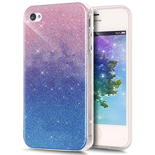 Coque iPhone 4S, Étui iPhone 4, iPhone 4S/iPhone 4 Case, ikasus® Coque iPhone 4S/iPhone 4 Silicone Étui Housse Téléphone Couverture TPU avec Dégradé de couleur Modèle de diamant brillant paillettes bl Rose bleu