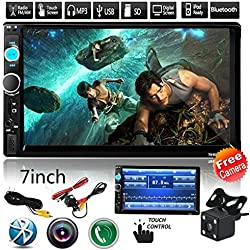 """Cavogin 2Din Car Stereo with Bluetooth,7.0"""" Touch Screen Car Audio FM Radio, MP5 Player Supports USB/SD/AUX Hands Free Calling with Wireless Remote Control + Rear Camera"""
