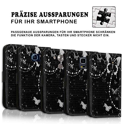 Wallet Book Style Flip Handy Tasche Case Schutz Hülle Schale Motiv Etui für Apple iPhone 6 / 6S - Variante UMV17 Design12 Design 1