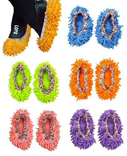 5 Paare Multi Funktion Staubmopp Bodenhaus Reinigung waschbar Staubmopp Hausschuhe, DIKETE Reinigung Schuhe Mopphefterzufuhren Schuhe Abdeckung Spitze