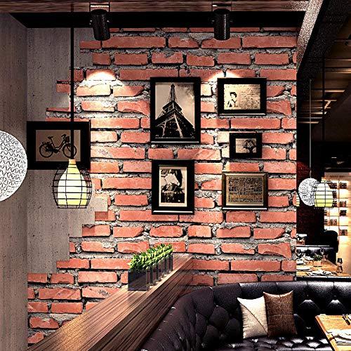 Vintage 3D Faux Backstein Tapetenrolle Wasserdichte Rote Backstein Wand Tapete Wohnkultur Wohnzimmer Tapete 3D-350X250CM -