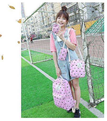 Minetom 4 Pezzi Clutch Bag Messenger Piccole Tasche Tela Borsa Zainetto Donna Spalla Zaini Scuola Superiore Zainetti Ragazze Rosa