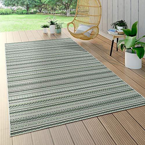 Paco Home In- & Outdoor Teppich Flachgewebe Gecarvt Geometrische Streifen Design In Grün, Grösse:160x230 cm - Home Trends Geometrischen Teppich