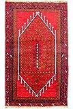 Morgenland Afghan BELUTSCH Teppich 126 x 78 cm Rot Handgeknüpft Gebetsteppich
