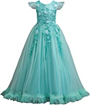 Girl Frocks Gorgeous Lace Flower Embroidery Ruffles Vintage Party Long skirt Formal Dresses