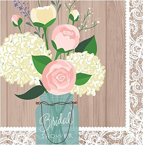 Unbekannt Creative Converting 3-Lagig Bridal Dusche Rustikal Hochzeit Lunch-Servietten, Braun/Weiß Mehrfarbig (Servietten Hochzeit Dusche)