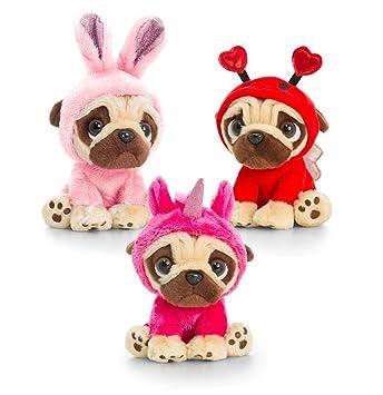 keel toys pugsley14cm pug dog in 3 colours onesie cuddly soft toy teddy plush bright pink unicorn amazoncouk toys u0026 games
