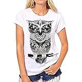 LAEMILIA T-Shirt Femme Manches Courtes Col Rond à Motif Imprimé Tatouage Style Fashion Casual Confortable