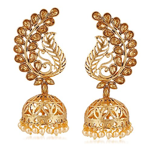 2ecb591cee Meenaz Wedding Bridal Gold Pearl Peacock Kundan Jhumka Jhumki Earrings For Women  Girls Party Wear Stylish